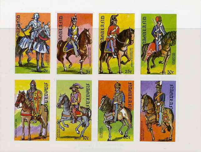 Nagaland 1977 Military Uniforms (on Horseback) complete imperf  set of 8 values unmounted mint
