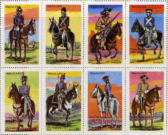 Nagaland 1976 USA Bicentenary (Military Uniforms - On Horseback) complete perf set of 8 values unmounted mint
