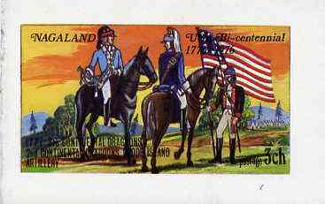 Nagaland 1976 USA Bicentenary (Military Uniforms - On Horseback) imperf  souvenir sheet (�1 value) unmounted mint