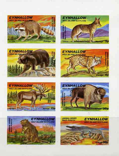 Eynhallow 1977 North American Animals complete imperf set of 8 values unmounted mint