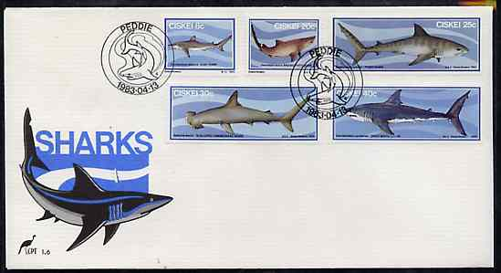 Ciskei 1983 Sharks set of 5 on unaddressed illustrated cover with special first day cancel (SG 38-42)