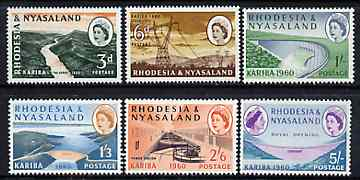 Rhodesia & Nyasaland 1960 Opening of Kariba Hydro-electric Scheme set of 6 unmounted mint, SG 32-37