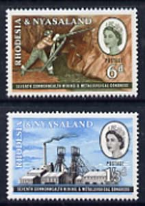 Rhodesia & Nyasaland 1961 Mining & Metallurgical Congress set of 2 unmounted mint, SG 38-39*