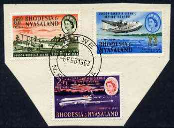 Rhodesia & Nyasaland 1962 Airmail Service set of 3 very fine cds used, SG 40-42