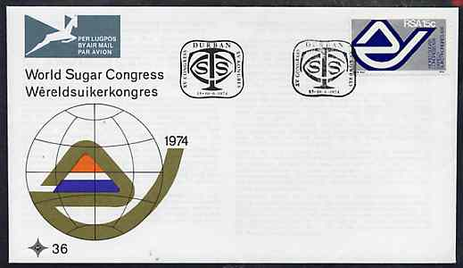 South Africa 1974 World Sugar Congress on unaddressed illustrated cover with special first day cancel (SG 344)
