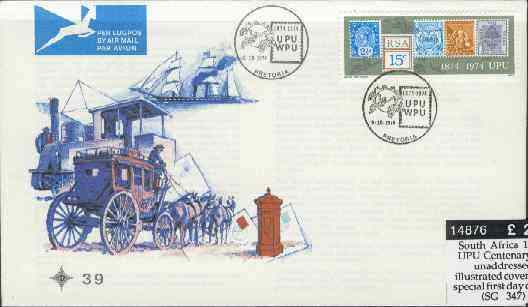 South Africa 1974 UPU Centenary on unaddressed illustrated cover with special first day cancel (SG 347)