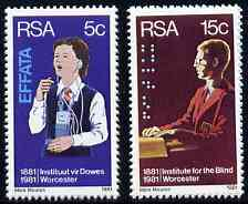 South Africa 1981 Centenary of Institutes for Deaf & Blind set of 2 unmounted mint, SG 495-96*