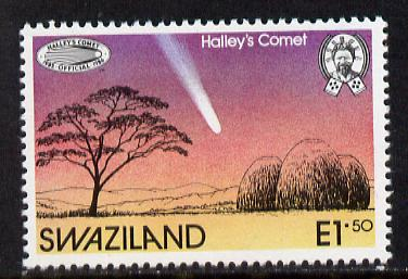 Swaziland 1986 Halley's Comet 1 value unmounted mint , SG 499
