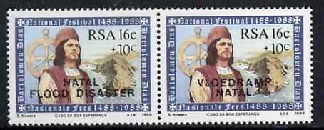 South Africa 1988 Natal Flood Relief Fund #3 (Dias 16c + 10c) opt se-tenant pair unmounted mint, SG 635a