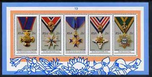 South Africa 1990 National Orders m/sheet containing set of 5 unmounted mint, SG MS 723