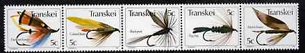 Transkei 1980 Fishing Flies #1 strip of 5 unmounted mint, SG 65a