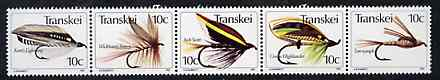 Transkei 1981 Fishing Flies #2 strip of 5 unmounted mint, SG 83a