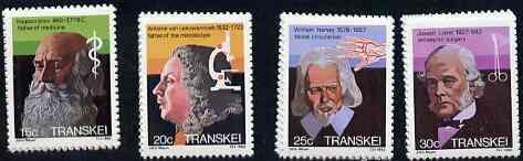 Transkei 1982 Celebrities of Medicine #1 set of 4 unmounted mint, SG 108-11