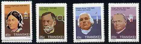 Transkei 1983 Celebrities of Medicine #2 set of 4 unmounted mint, SG 125-28*, stamps on personalities, stamps on medical, stamps on doctors, stamps on vaccines, stamps on nurses