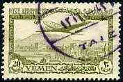 Yemen - Kingdom 1947 Douglas DC-4 20b green with fine violet circular cancel, SG 64