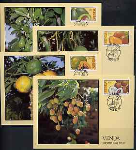 Venda 1983 Subtropical Fruit set of 4 each on maximum card cancelled first day of iussue, SG 83-86*