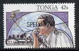 Tonga 1991 Coastguard Controller 42s opt'd SPECIMEN, from Telecommunications, as SG 1143 unmounted mint