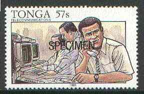 Tonga 1991 Meteorologist Collecting Data 57s opt'd SPECIMEN, from Telecommunications, as SG 1146 unmounted mint
