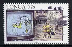 Tonga 1991 TV Weather Map 57s opt'd SPECIMEN, from Telecommunications, as SG 1147 unmounted mint