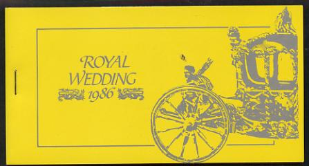 Booklet - Montserrat 1986 Royal Wedding $10.80 booklet (SG SB7) State Coach in silver, panes imperf