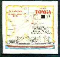 Tonga 1972 Inaugural Internal Airmail surch & opt on self-adhesive Map & MV Olovaha unmounted mint, SG 428*