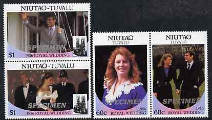Tuvalu - Niutao 1986 Royal Wedding (Andrew & Fergie) set of 4 (2 se-tenant pairs) opt'd SPECIMEN in silver unmounted mint