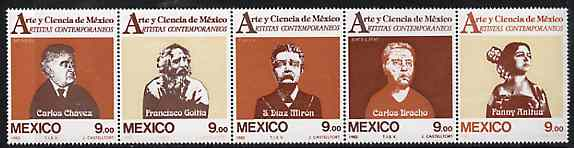 Mexico 1983 Arts & Sciences #10 (Artists) strip of 5 unmounted mint, SG 1688-92