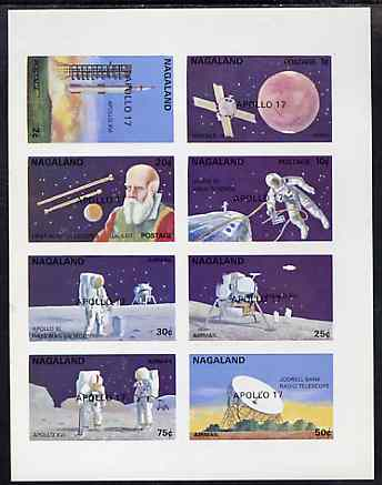 Nagaland 1972 Space complete imperf set of 8 (opt'd APOLLO 17) unmounted mint