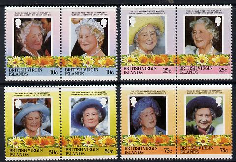 British Virgin Islands 1985 Life & Times of HM Queen Mother set of 8 (4 se-tenant pairs) unmounted mint SG 579-86A