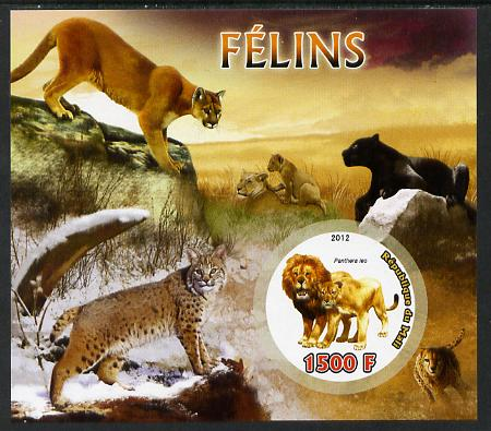 Mali 2012 Fauna - Big Cats imperf m/sheet containing 1500f circular value unmounted mint