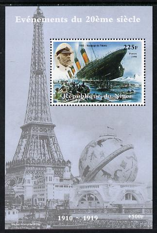 Niger Republic 1998 Events of the 20th Century 1910-1919 Sinking of the Titanic perf souvenir sheet unmounted mint. Note this item is privately produced and is offered purely on its thematic appeal