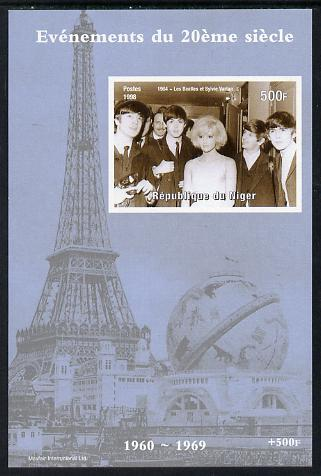 Niger Republic 1998 Events of the 20th Century 1960-1969 The Beatles & Sylvie Vartan imperf souvenir sheet unmounted mint. Note this item is privately produced and is offered purely on its thematic appeal
