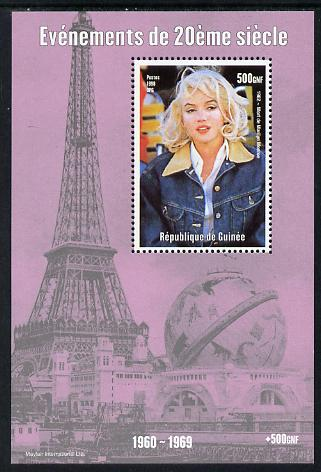 Guinea - Conakry 1998 Events of the 20th Century 1960-1969 Death of Marilyn Monroe perf souvenir sheet unmounted mint. Note this item is privately produced and is offered purely on its thematic appeal