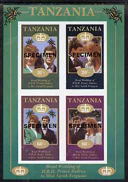 Tanzania 1986 Royal Wedding (Andrew & Fergie) the unissued imperf sheetlet containing 10s, 20s, 60s & 80s values overprinted Specimen unmounted mint