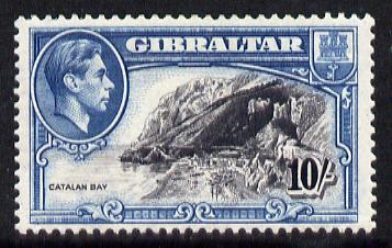 Gibraltar 1938-51 KG6 10s black & blue P13 mounted mint SG 130a