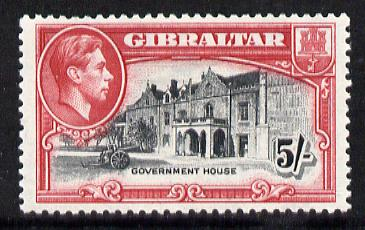 Gibraltar 1938-51 KG6 5s black & carmine P13 mounted mint SG129b