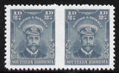 Southern Rhodesia 1924-29 KG5 Admiral 1/2d blue-green horizontal pair imperf between  'Maryland' forgery 'unused', as SG 1a - the word Forgery is printed on the back and comes on a presentation card with descriptive notes