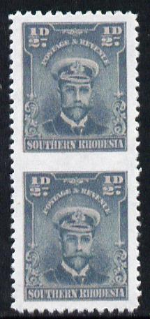 Southern Rhodesia 1924-29 KG5 Admiral 1/2d blue-green vertical pair imperf between  'Maryland' forgery 'unused', as SG 1b - the word Forgery is printed on the back and comes on a presentation card with descriptive notes