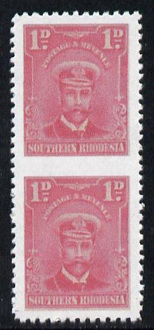 Southern Rhodesia 1924-29 KG5 Admiral 1d rose vertical pair imperf between  'Maryland' forgery 'unused', as SG 2b - the word Forgery is printed on the back and comes on a presentation card with descriptive notes