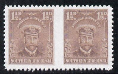 Southern Rhodesia 1924-29 KG5 Admiral 1.5d brown horizontal pair imperf between  'Maryland' forgery 'unused', as SG 3a - the word Forgery is printed on the back and comes on a presentation card with descriptive notes