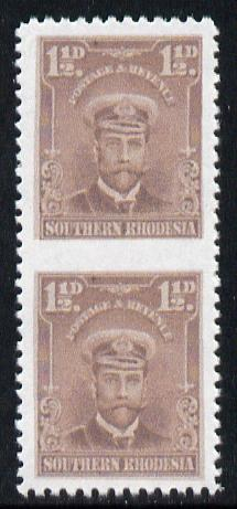 Southern Rhodesia 1924-29 KG5 Admiral 1.5d brown vertical pair imperf between  'Maryland' forgery 'unused', as SG 3b - the word Forgery is printed on the back and comes on a presentation card with descriptive notes, stamps on maryland, stamps on forgery, stamps on forgeries, stamps on  kg5 , stamps on
