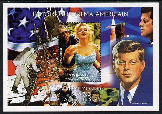 Madagascar 1999 History of American Cinema - Marilyn Monroe #2 (with JFK & Apollo 11 in background) perf m/sheet unmounted mint. Note this item is privately produced and is offered purely on its thematic appeal