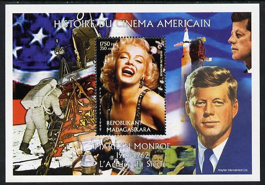 Madagascar 1999 History of American Cinema - Marilyn Monroe #5 (with JFK & Apollo 11 in background) perf m/sheet unmounted mint. Note this item is privately produced and is offered purely on its thematic appeal