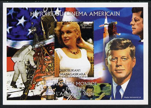 Madagascar 1999 History of American Cinema - Marilyn Monroe #6 (with JFK & Apollo 11 in background) perf m/sheet unmounted mint. Note this item is privately produced and is offered purely on its thematic appeal