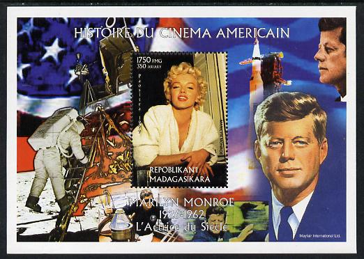 Madagascar 1999 History of American Cinema - Marilyn Monroe #7 (with JFK & Apollo 11 in background) perf m/sheet unmounted mint. Note this item is privately produced and is offered purely on its thematic appeal