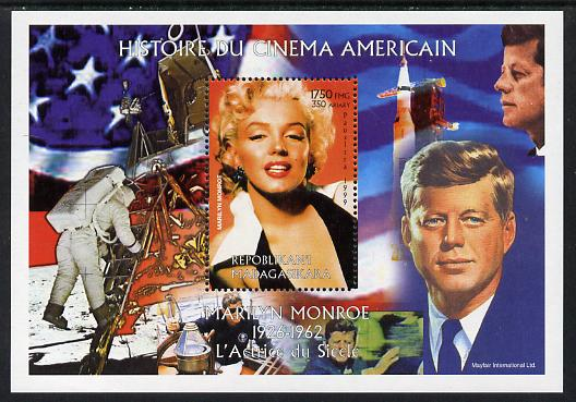 Madagascar 1999 History of American Cinema - Marilyn Monroe #8 (with JFK & Apollo 11 in background) perf m/sheet unmounted mint. Note this item is privately produced and is offered purely on its thematic appeal