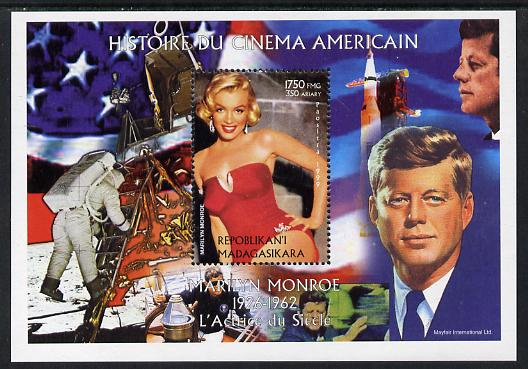 Madagascar 1999 History of American Cinema - Marilyn Monroe #9 (with JFK & Apollo 11 in background) perf m/sheet unmounted mint. Note this item is privately produced and is offered purely on its thematic appeal