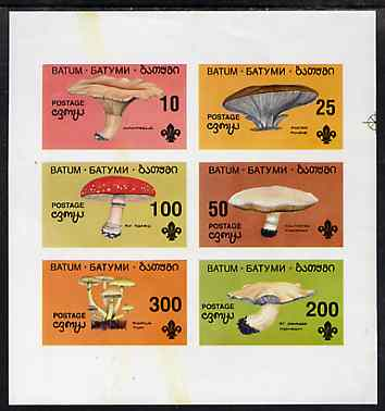 Batum 1994 Fungi imperf set of 6 (showing Scout emblem) unmounted mint