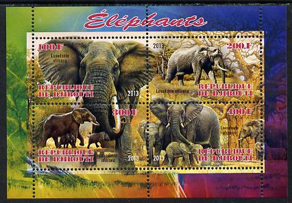 Djibouti 2013 Elephants perf sheetlet containing 4 values unmounted mint