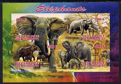Djibouti 2013 Elephants imperf sheetlet containing 4 values unmounted mint